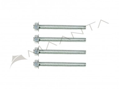 Set 4 Gewindestangen aus verzinktem Stahl M10 Länge 12 cm